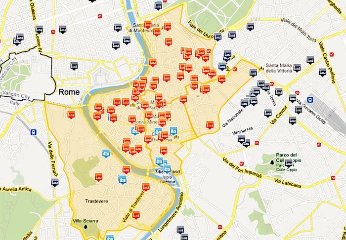 Mapa de hotéis na zona turística