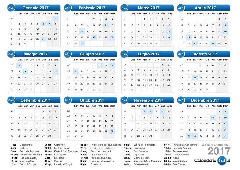 Calendário de feriados de Roma em 2017