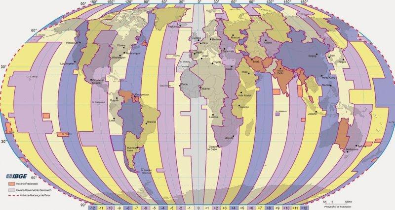 Mapa de fusos horários
