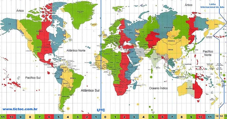 Mapa de Fuso Horário no mundo