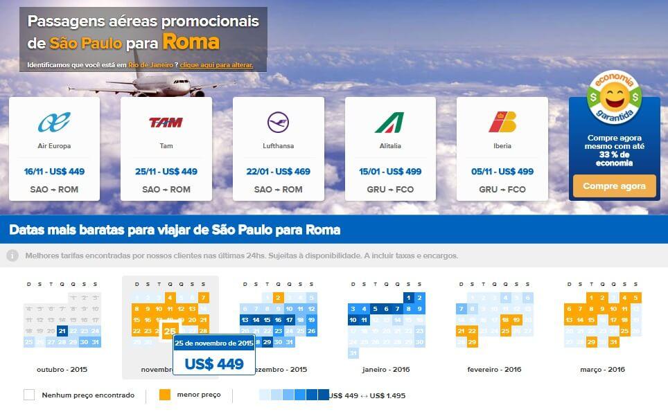 Comparador de passagens aéreas para a Itália
