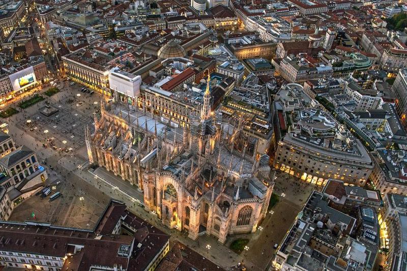 Centro de Milão visto de cima
