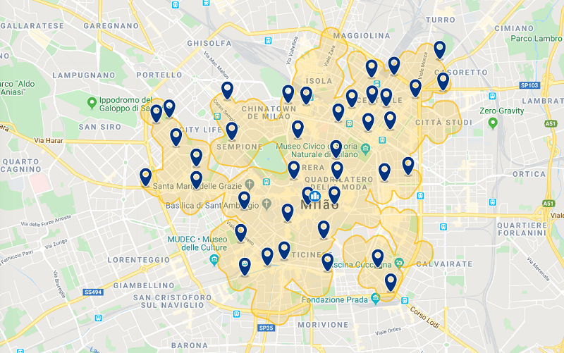 Mapa de hotéis em Milão