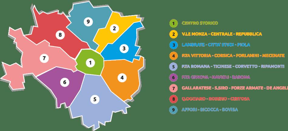 Mapa dos bairros de Milão