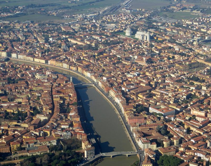 Vista da região central de Pisa