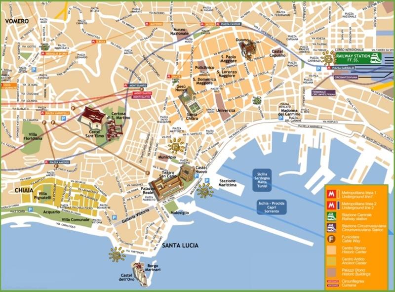 Mapa turístico de Nápoles