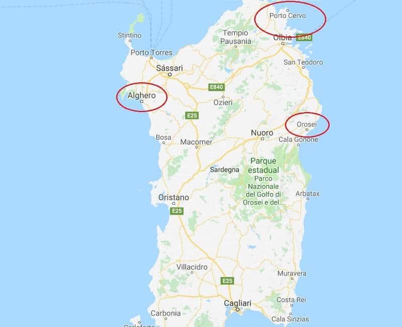 Mapa Sardenha