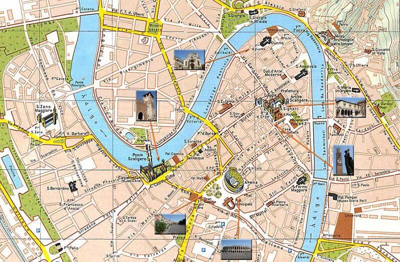 Mapa turístico de Verona