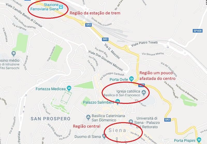 Mapa das regiões de Siena