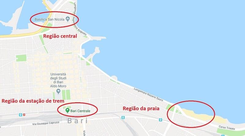 Mapa das regiões de Bari