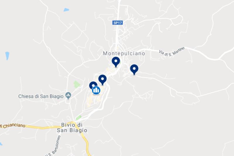Mapa dos hotéis em Montepulciano