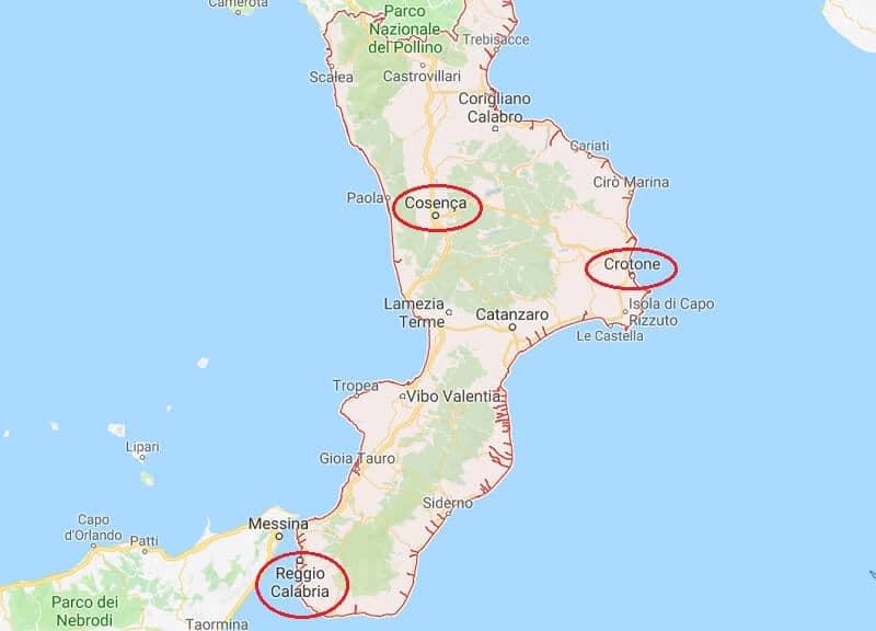 Mapa da região da Calábria
