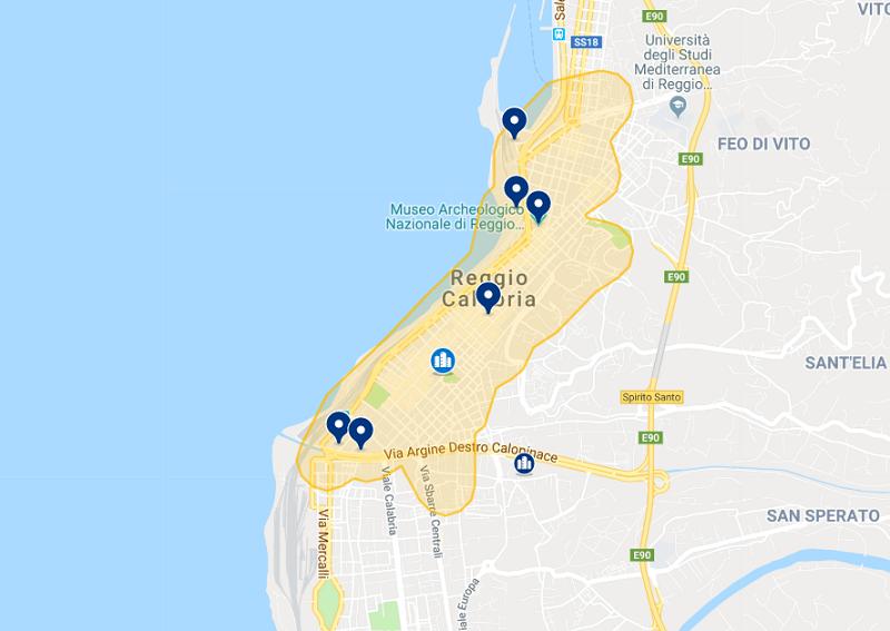 Mapa dos hotéis em Reggio Calabria