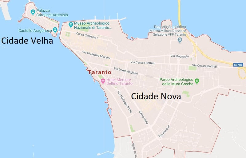 Mapa da cidade de Taranto