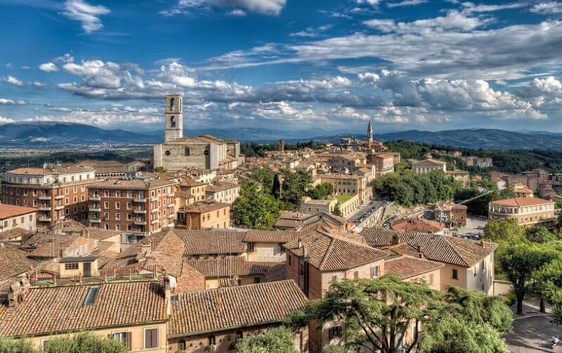 Vista da cidade de Perugia na Itália