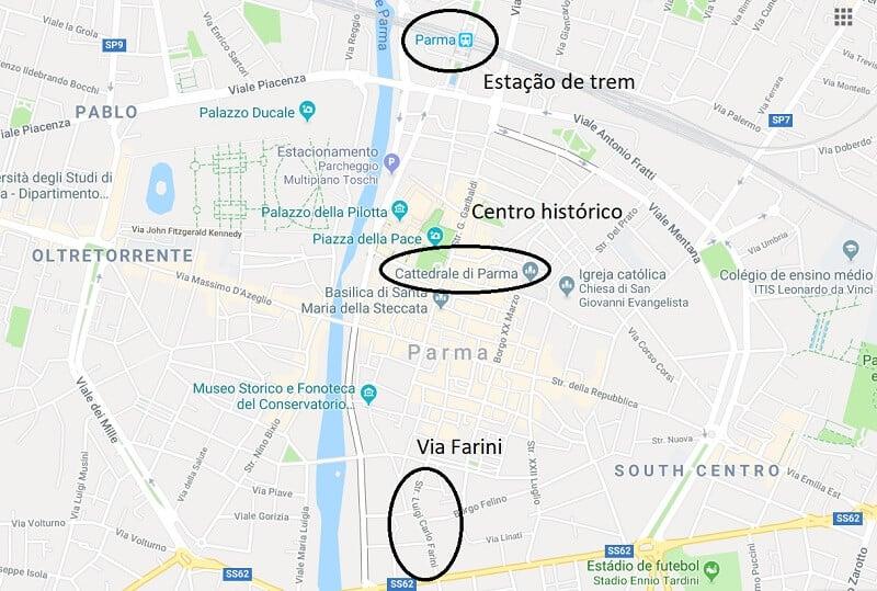Mapa da cidade de Parma