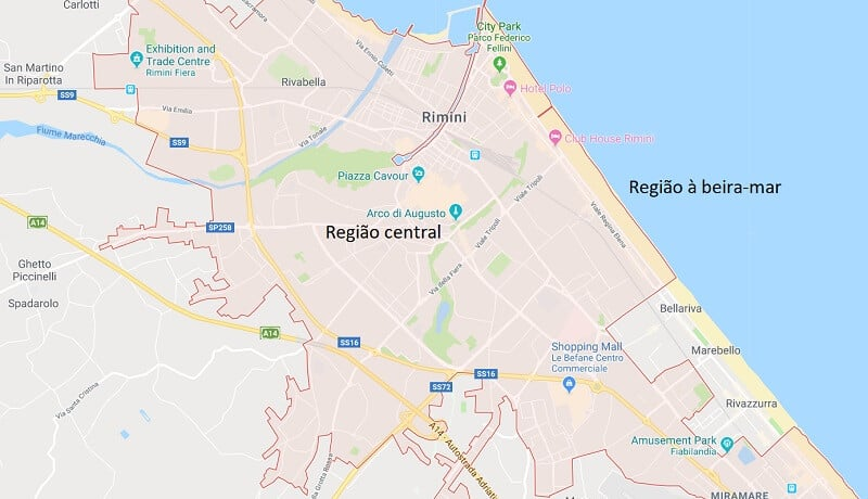 Mapa da cidade de Rimini