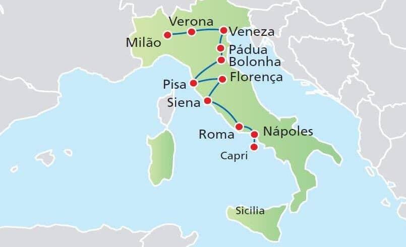 Mapa das principais cidades da Itália