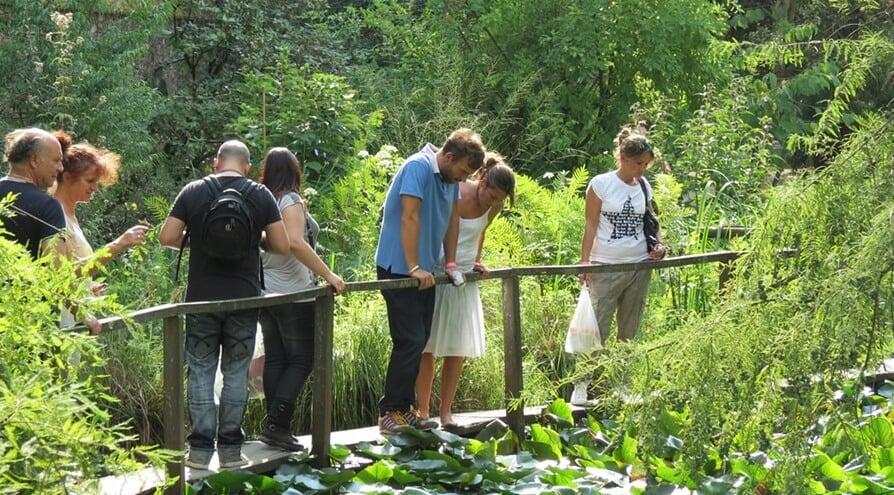 Visitantes no Orto Botânico di Lucca