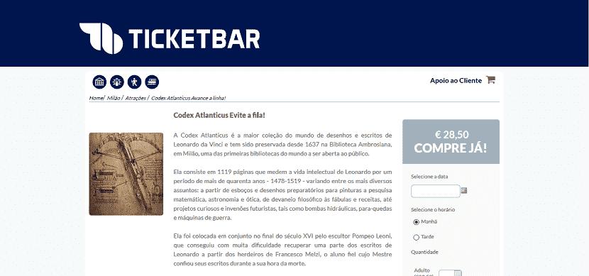 Ticketbar para ingresso para Codex Atlanticus sem fila