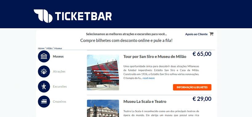 Ticketbar para ingressos em Milão