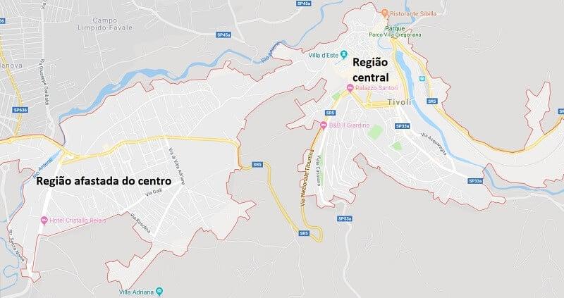 Mapa da cidade de Tivoli