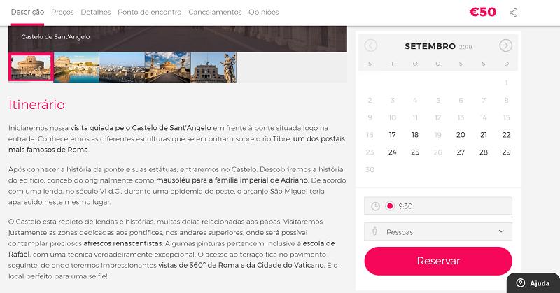 Civitatis para ingressos para visita guiada pelo Castelo de Sant'Angelo com subida ao terraço