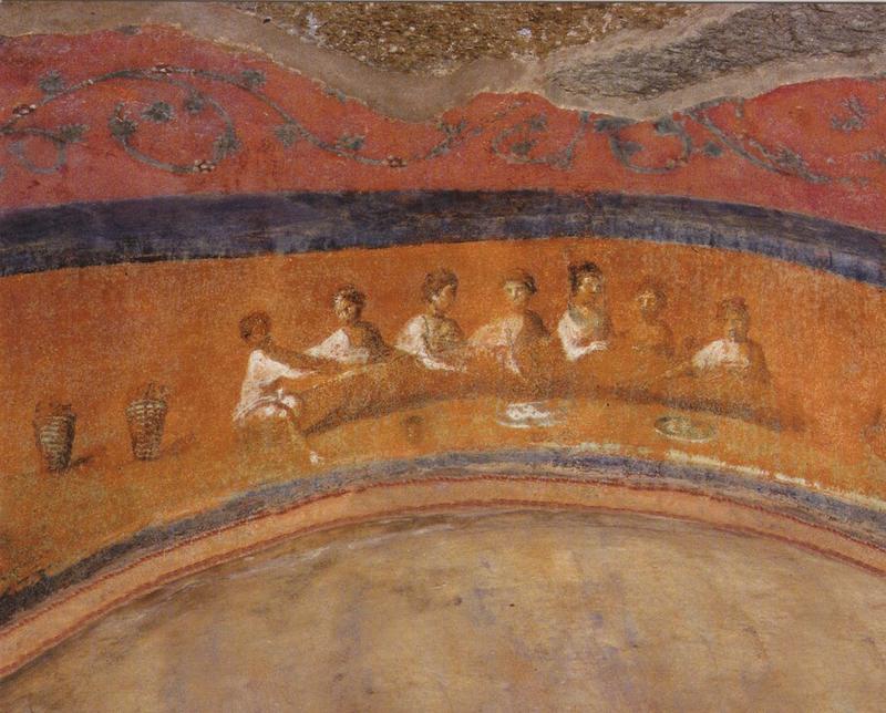 Pinturas na Catacumba de Priscila em Roma