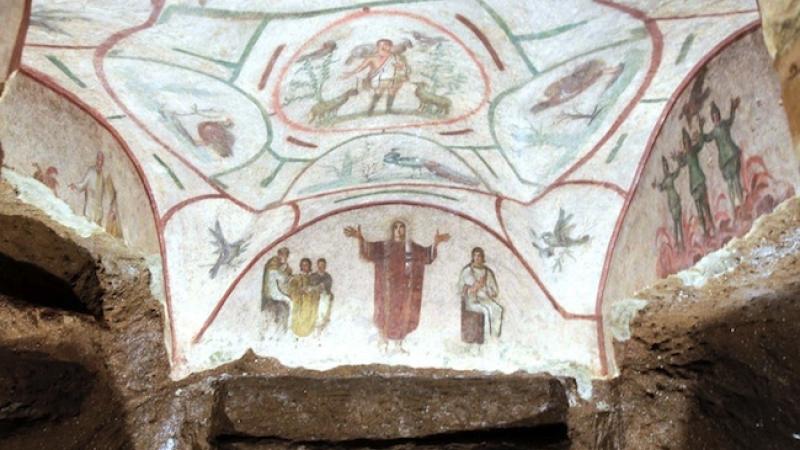 Arte na Catacumba de Priscila em Roma