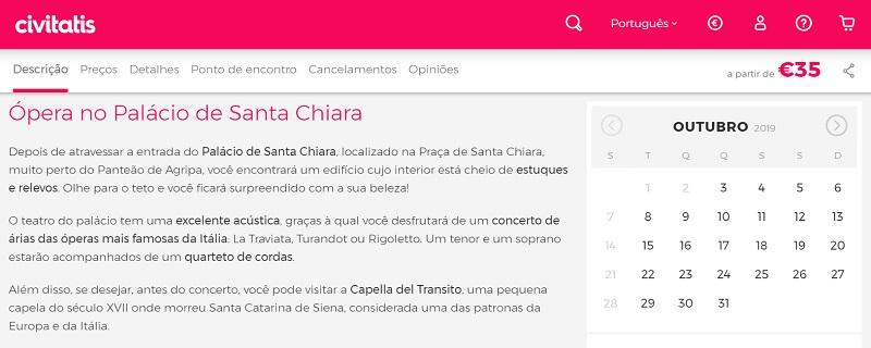 Civitatis para ingressos para concerto de ópera no Palácio de Santa Chiara