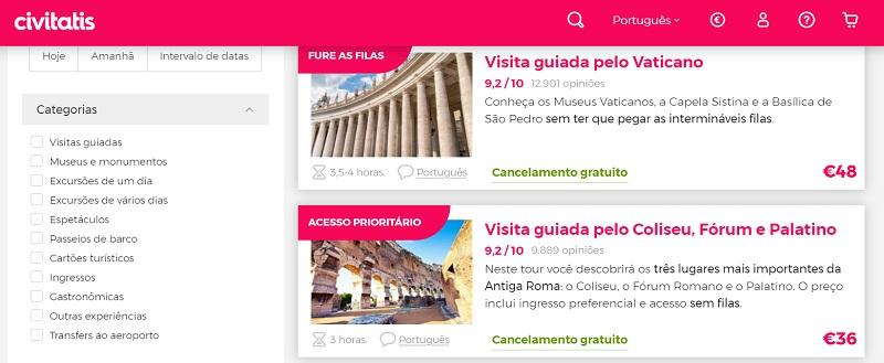 Civitatis para ingressos em Roma