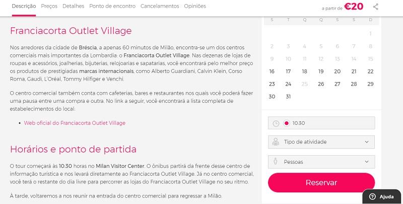 Civitatis para ingressos para tour de compras por Franciacorta Outlet Village em Milão,