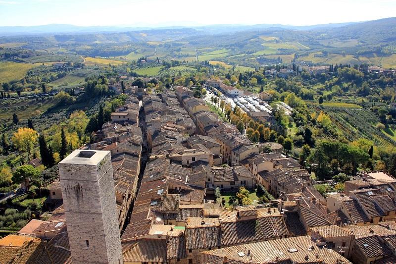 Vista de San Gimignano do alto da Torre Grossa