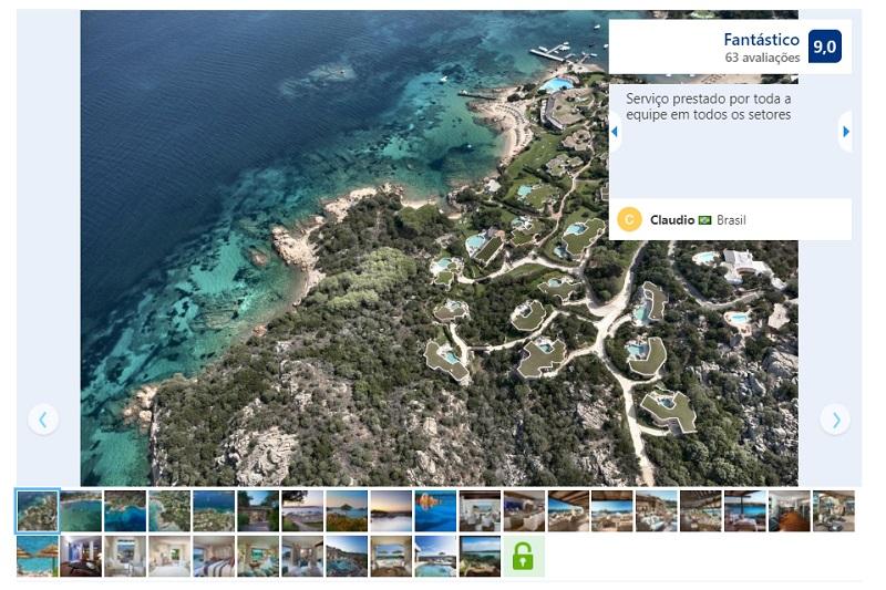 Vista do hotel Pitrizza em Sardenha