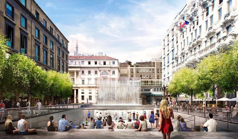 Anfiteatro ao ar livre construído junto a loja na Piazza del Liberty